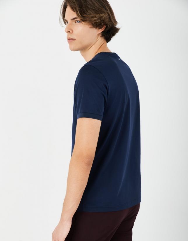 Navy blue double mercerised cotton t-shirt