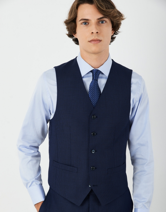 Blue micro-design suit vest