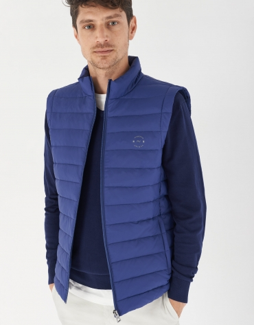 Blue quilted vest
