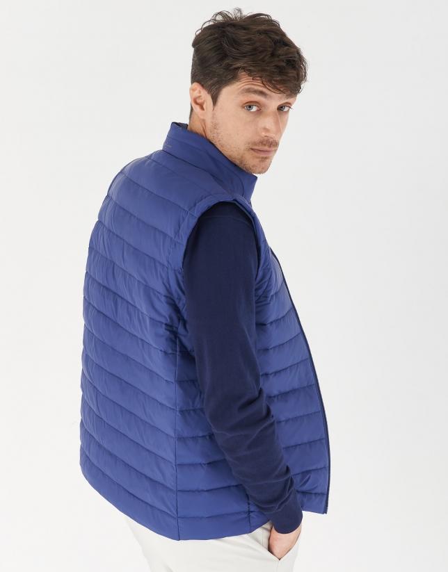 Blue quilted vest