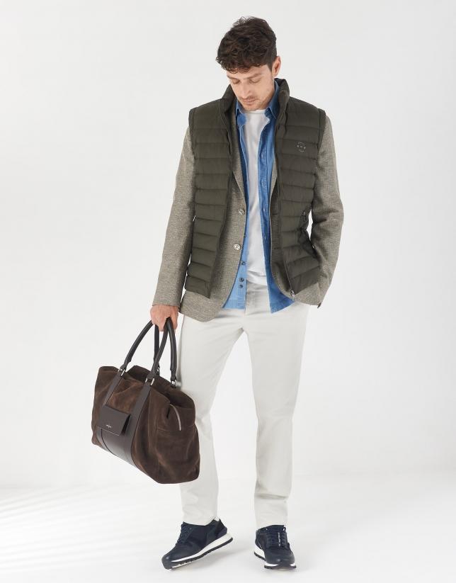 Khaki green cotton/linel knit blazer