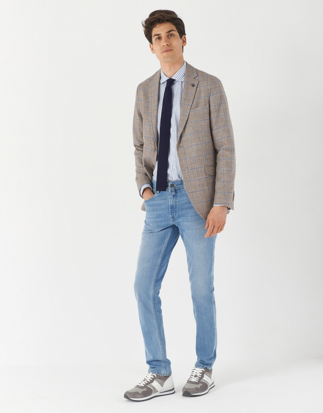 Tan and blue checked blazer