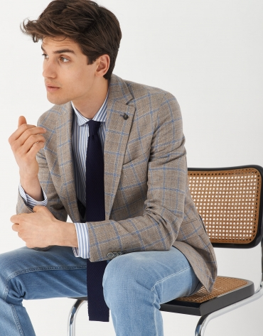 Tan and blue checked blazer