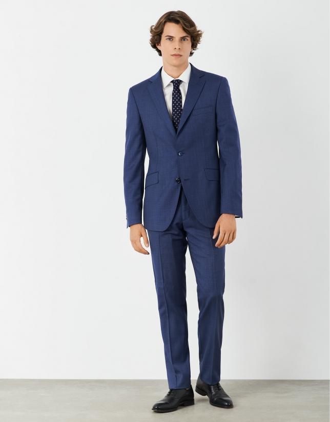 Deep blue half-canvas wool suit