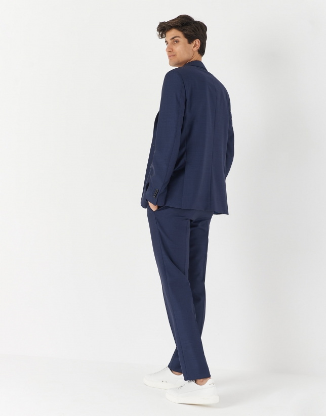 Navy blue half-canvas wool suit