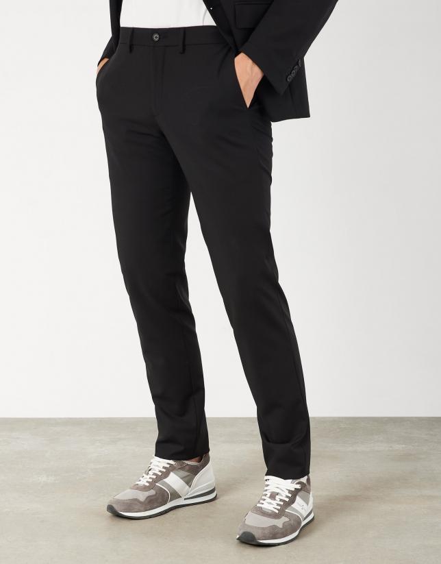 Black unstructured slim fit suit