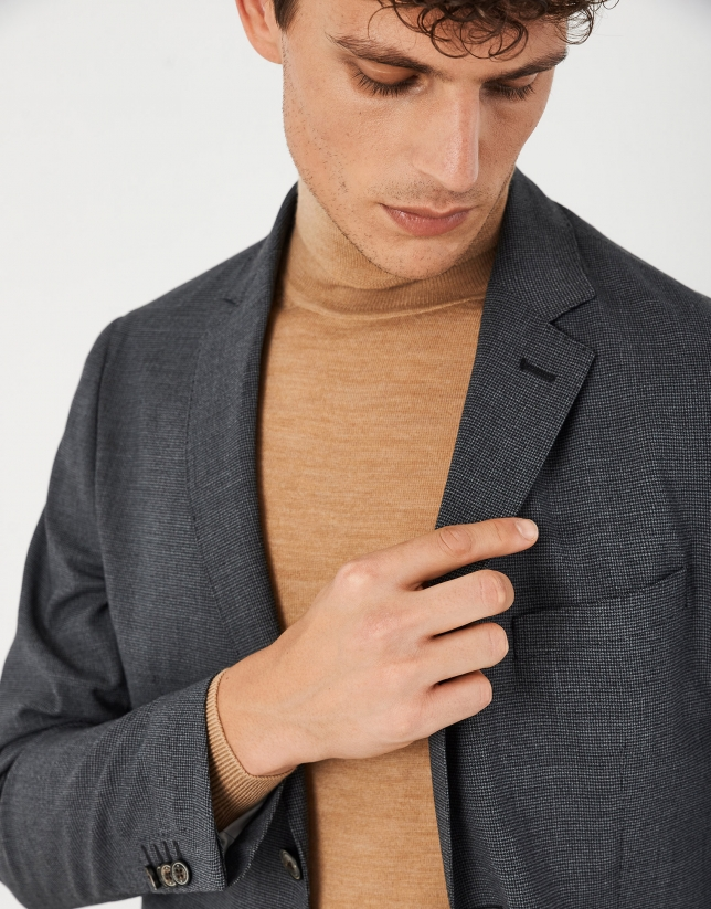 Gray micro-checked unstructured suit with slim fit