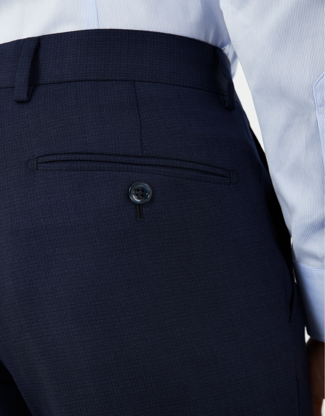 Blue micro print half-canvas slim fit suit