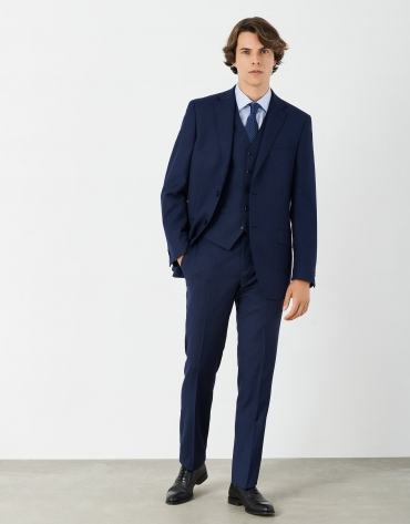 Blue micro print half-canvas suit