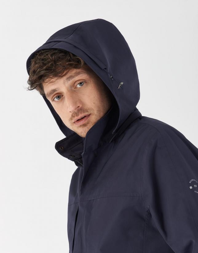 Cazadora corta capucha desmontable azul