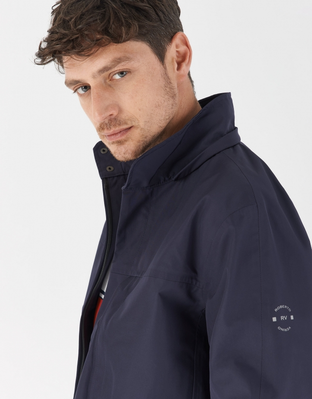Blue short windbreaker with detachable hood