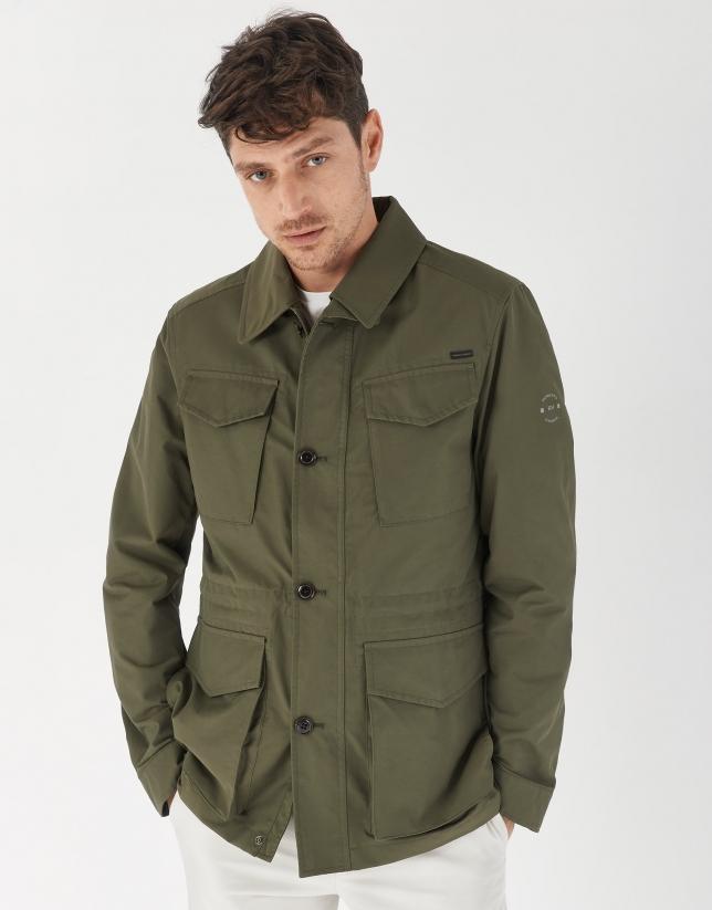 Khaki green cotton Safari jacket