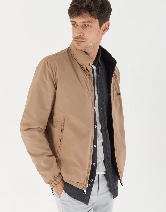 Black and brown reversible bomber jacket