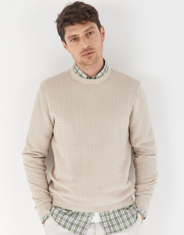 Beige jacquard sweater with cable stitch knit