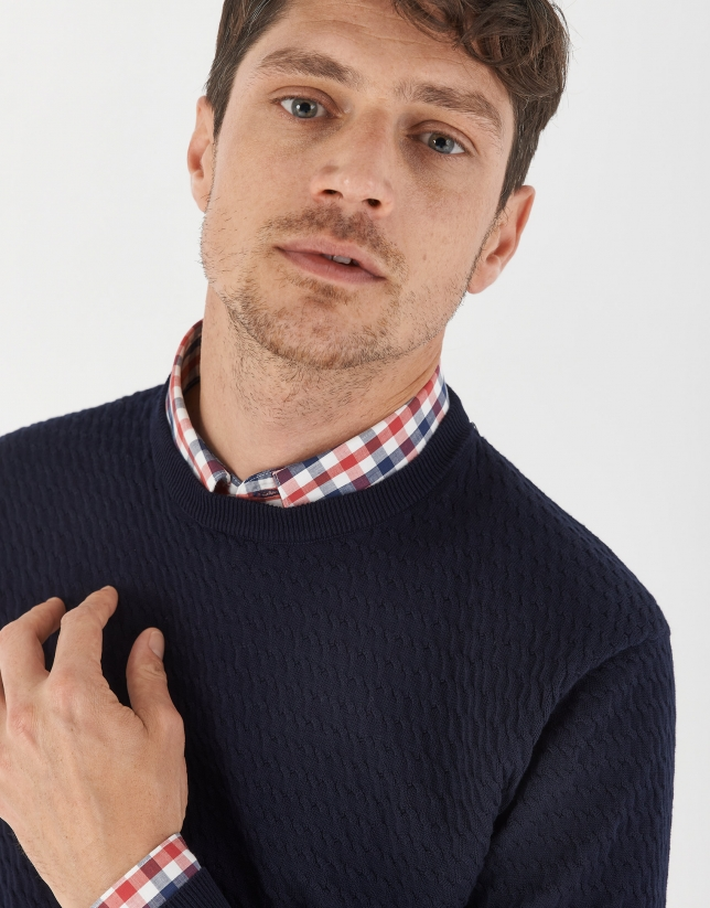 Navy blue jacquard sweater with cable stitch knit