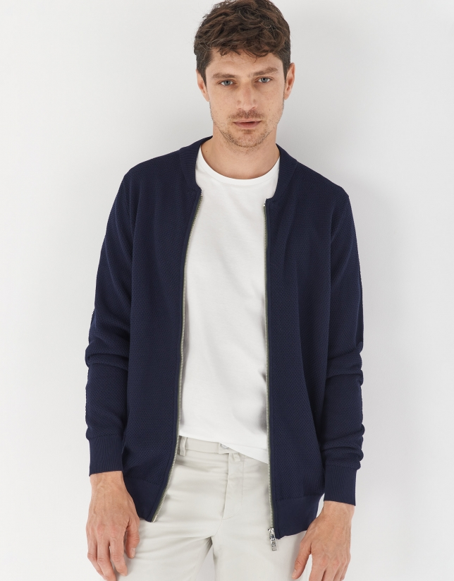 Navy blue knit bomber jacket
