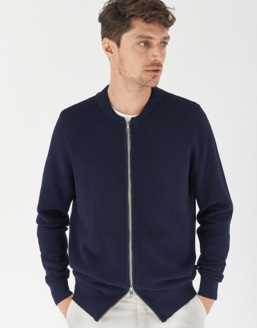 Navy blue knit bomber jacket