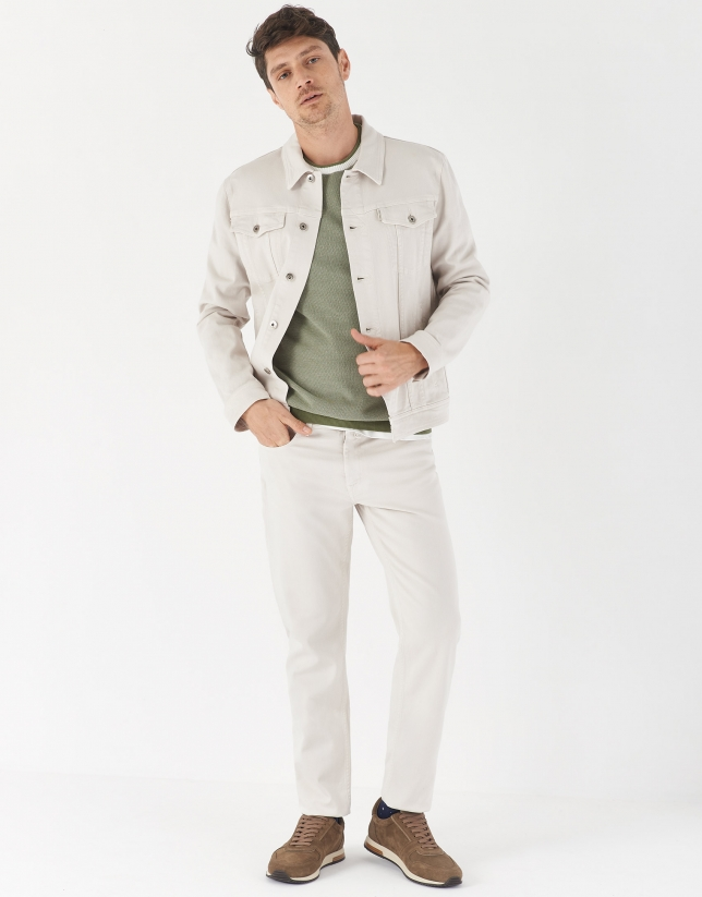 Jersey caqui cuello contraste blanco