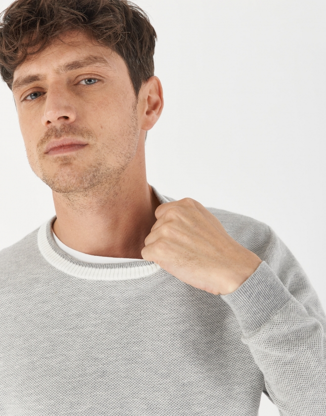 Gray sweater with white contrasting collar