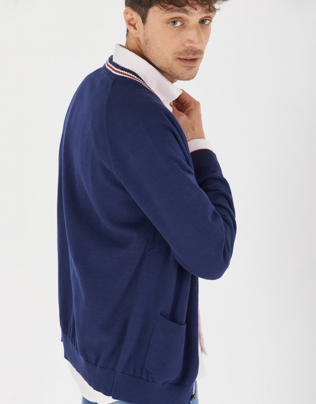 Navy blue jacket with red and white outlines