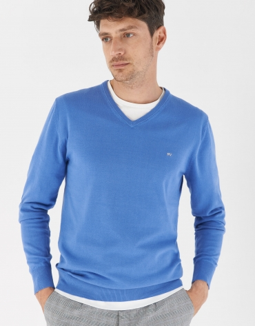 Blue cotton sweater with V-neck