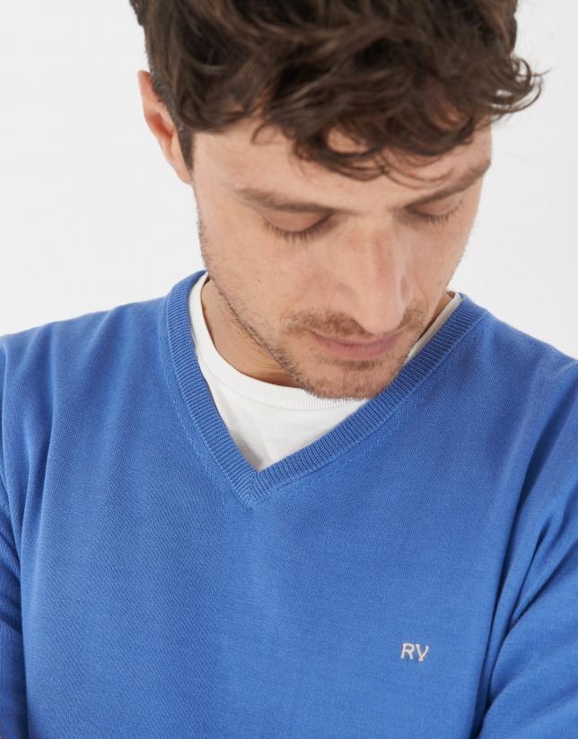 Jersey pico algodón azul medio