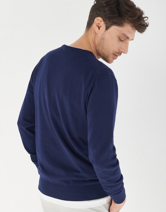 Navy blue cotton sweater with V-neck