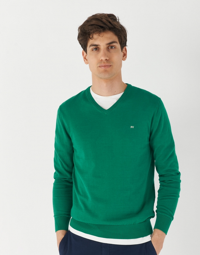 Green cotton sweater with V-neck