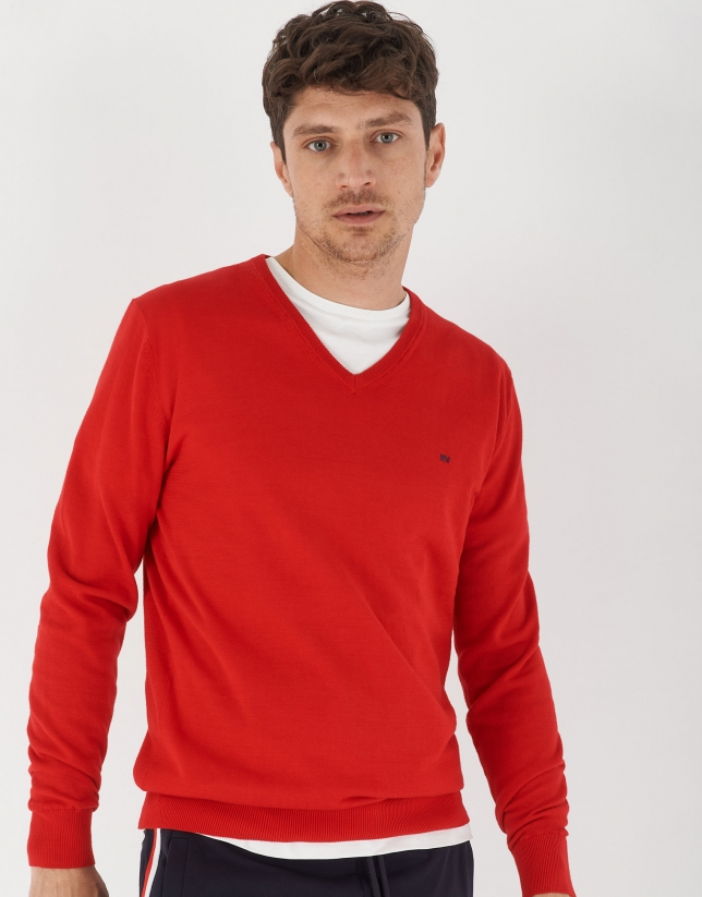 Red cotton sweater with V-neck