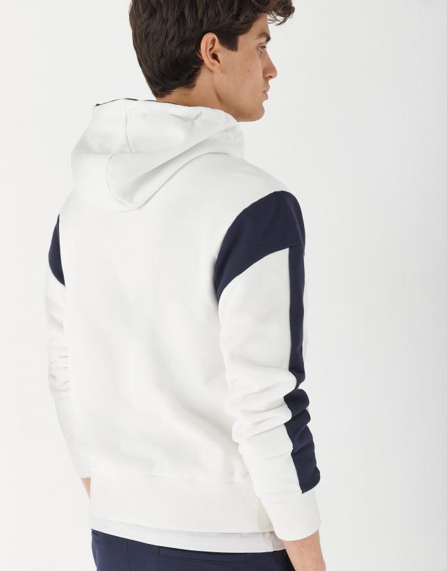 Navy blue and white plush zippered sweatshirt