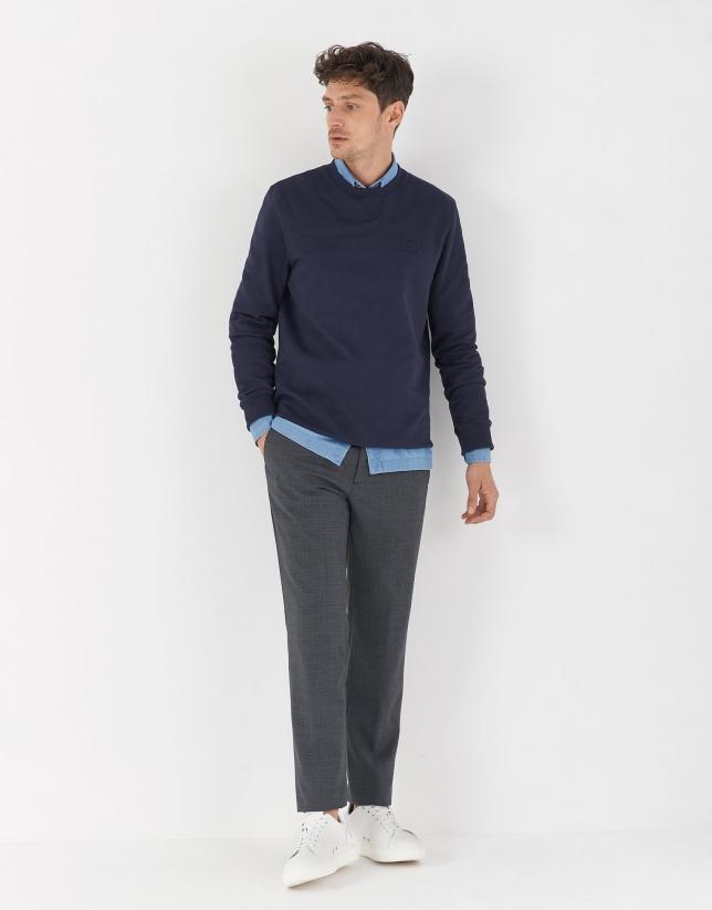 Navy blue cotton sweatshirt-sweater