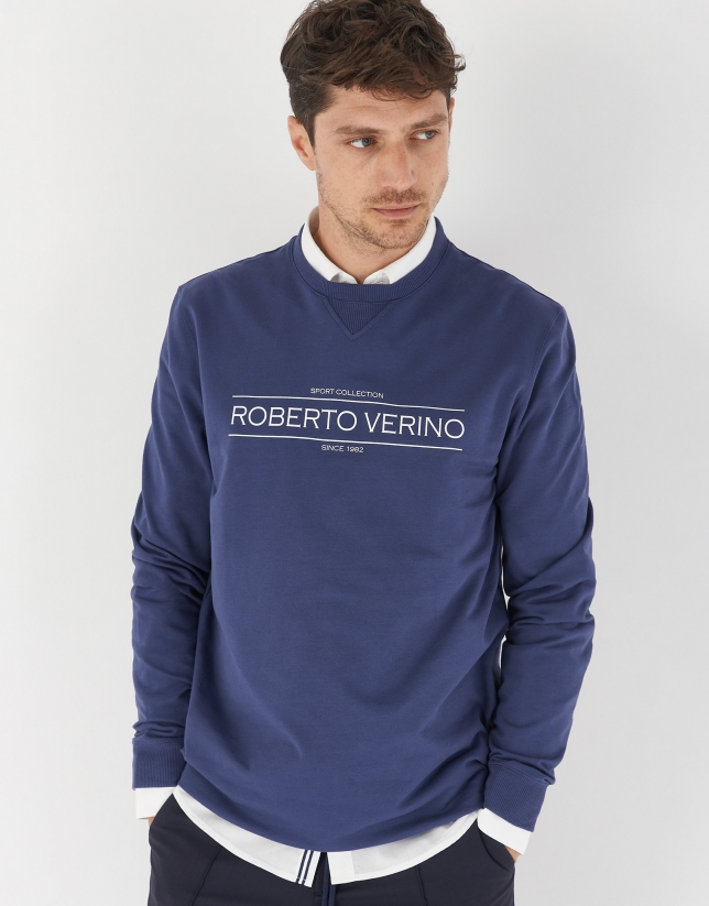 Ink blue cotton sweater with logo
