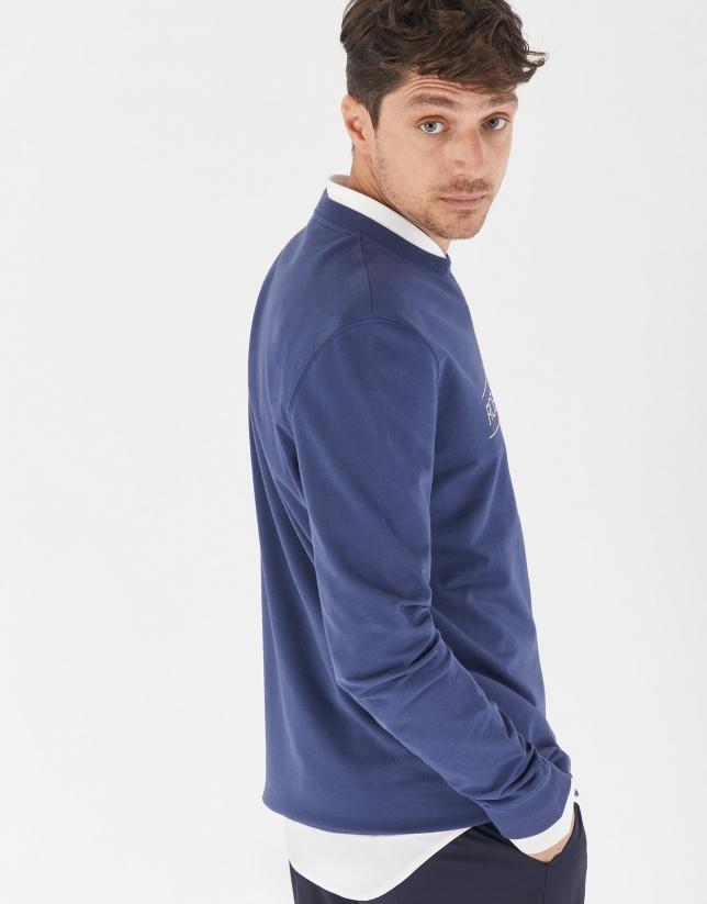 Jersey sudadera algodón azul tinta logo