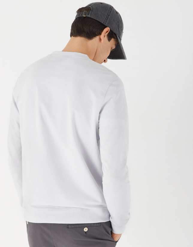 Gray cotton sweater with logo