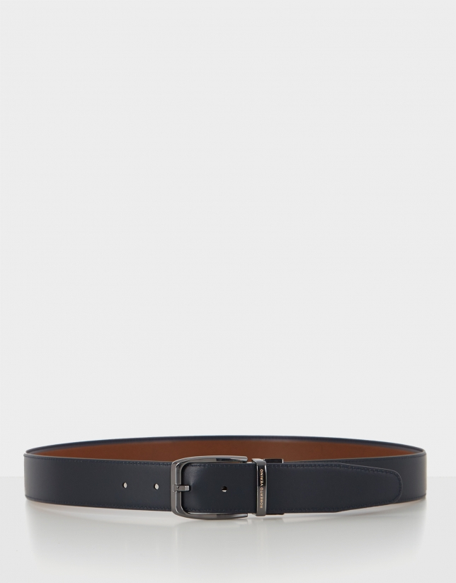Brown and navy blue reversible leather belt