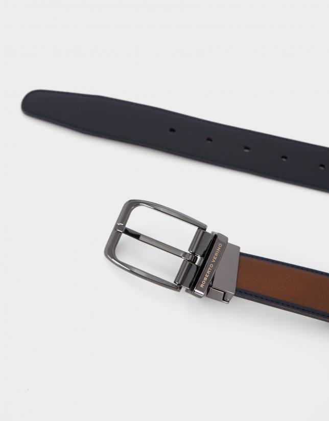 Cinturón reversible piel marrón marino