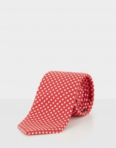 Corbata seda roja jacquard círculos crudo
