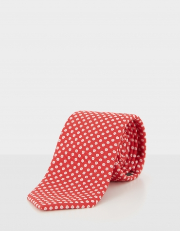 Red silk tie with  off white jacquard circle design