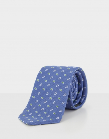 Blue silk tie with green and navy blue paisley jacquard