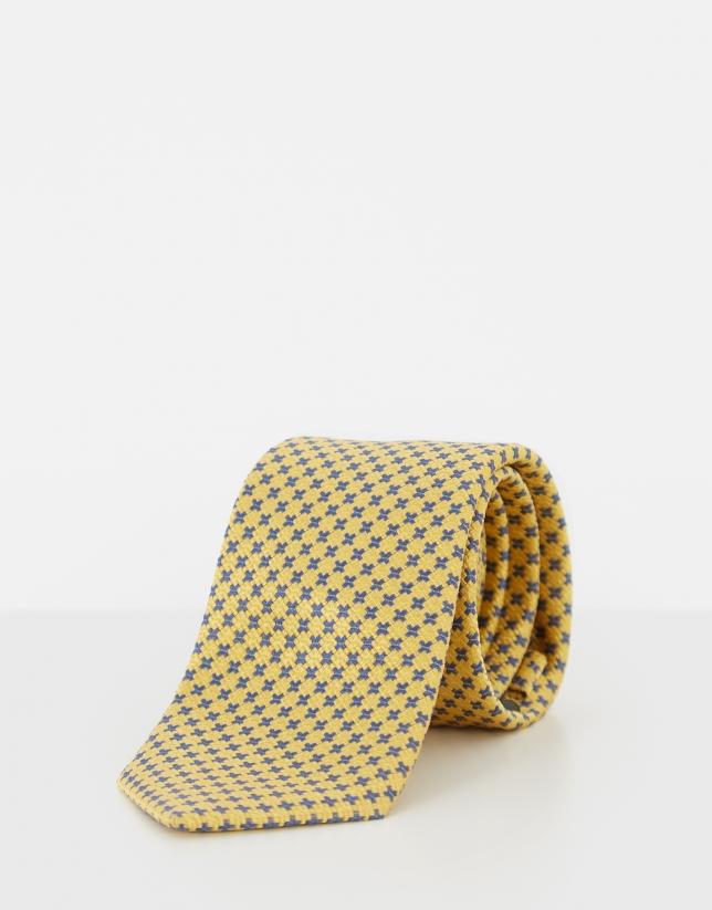 Yellow silk tie with blue geometric jacquard design