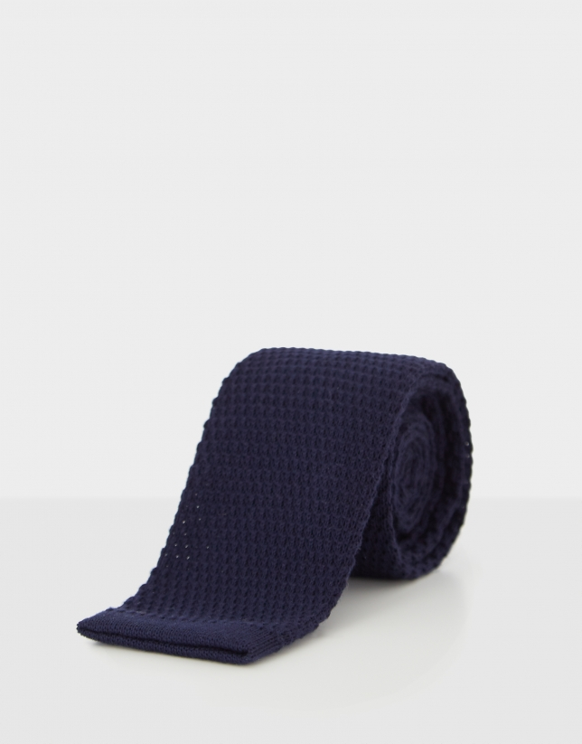 Navy blue structured woven tie