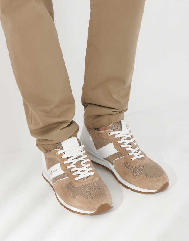 Camel and white suede running shoes
