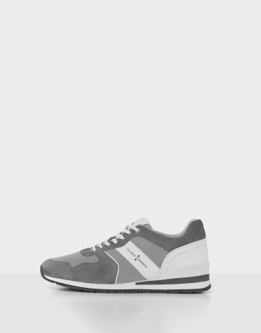 Gray and white suede running shoes
