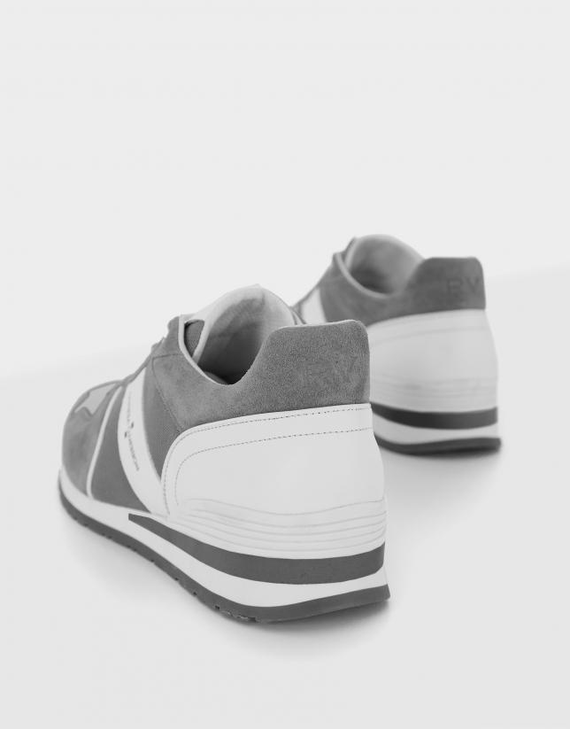Zapatilla deportiva ante gris azulado/blanco