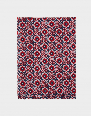 Red and navy blue cotton and linen scarf with geometric floral print