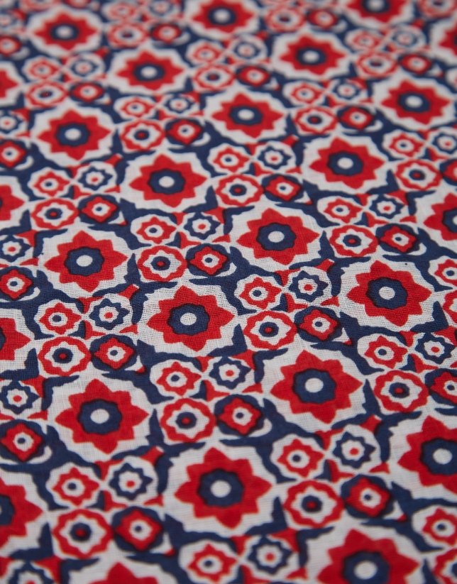 Fular lino/algodón flores geométricas rojo/marino