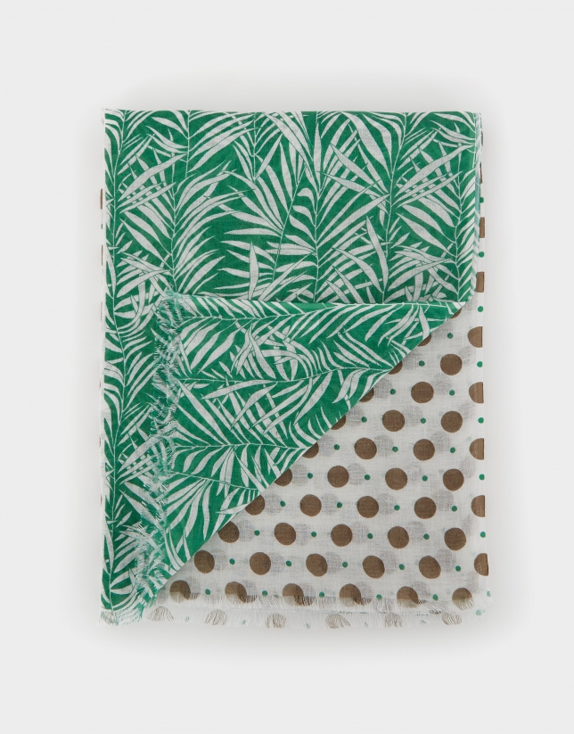 Cotton and linen scarf with white leaves and green dots