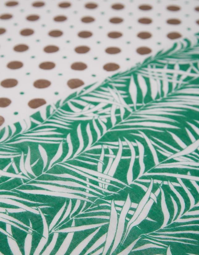 Fular lino/algodón blanco hojas y lunares verde
