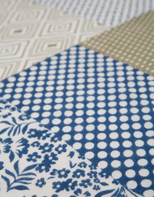 Fular lino/algodón patchwork blanco/azul/caqui
