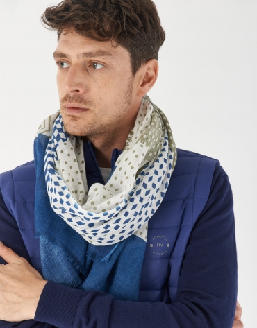 Cotton and linen scarf with white, blue and khaki patchwork design